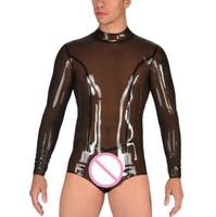 Latex Catsuit Men Sexy Zentai Latex Rubber Swimsuit Customized