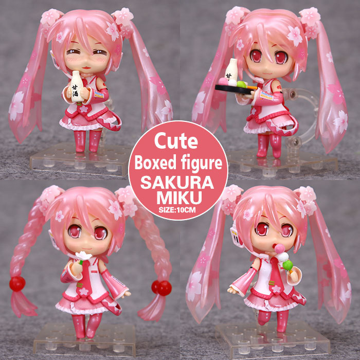 Free Shipping 4pcs Cute 4 VOCALOID Hatsune Miku Sakura Ver. Boxed 9cm PVC Action Figure Collection Model Toys (4pcs per set) 170 cute hatsune miku face changeable figure garage kit set