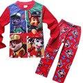 3-8 Anos 2016 de Presente de Natal para Crianças dos miúdos Vestuário Define Meninos Pijamas Ternos Conjuntos de Roupas Menino Dos Desenhos Animados Do Cão Pijamas de algodão