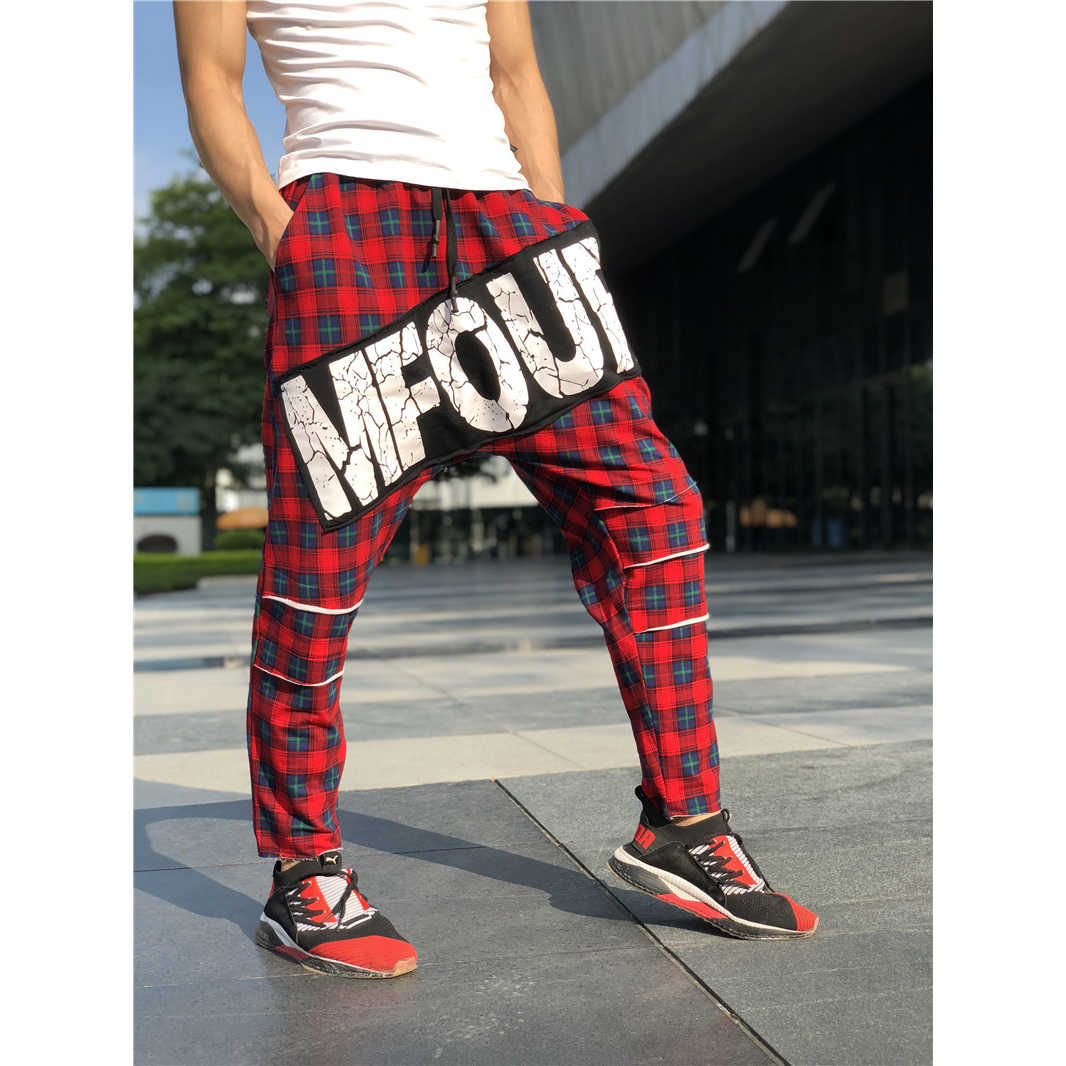 8a517c294ef Men s Streetwear Red Plaid Harem Pants Ankle-length Letter Loose Elastic  Waist Drawstring Trousers Hip