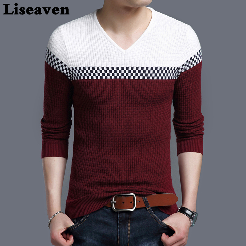 Liseaven Winter Men Pullover Sweater Casual Knitting Warm Sweaters Pattern V Neck Pullovers Brand Mens Clothing