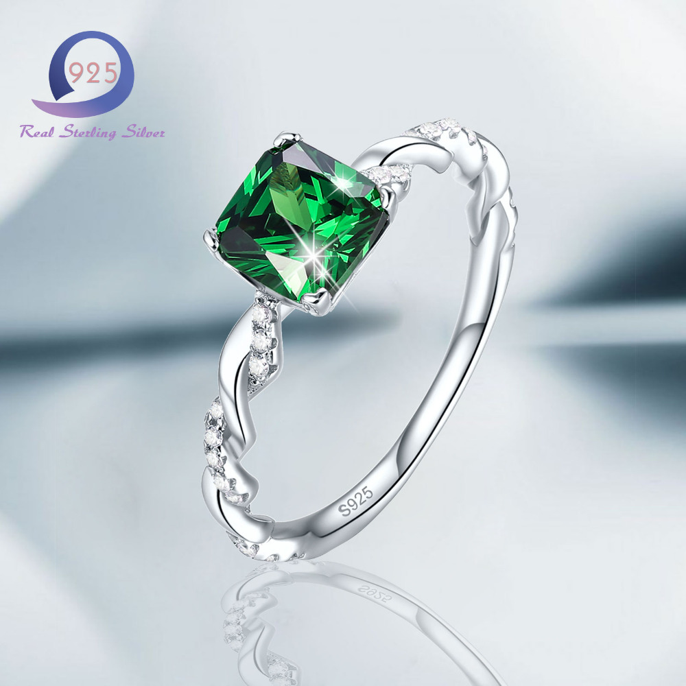 Merthus Women Lab Created Emerald Rings 925 Silver Band