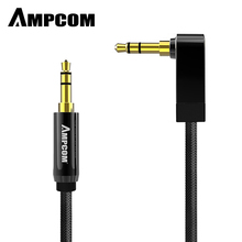 AMPCOM 3.5mm Elbow Audio Cable Lossless Pure Copper Male to Stereo Aux For  Headphone Phone PC Mp3