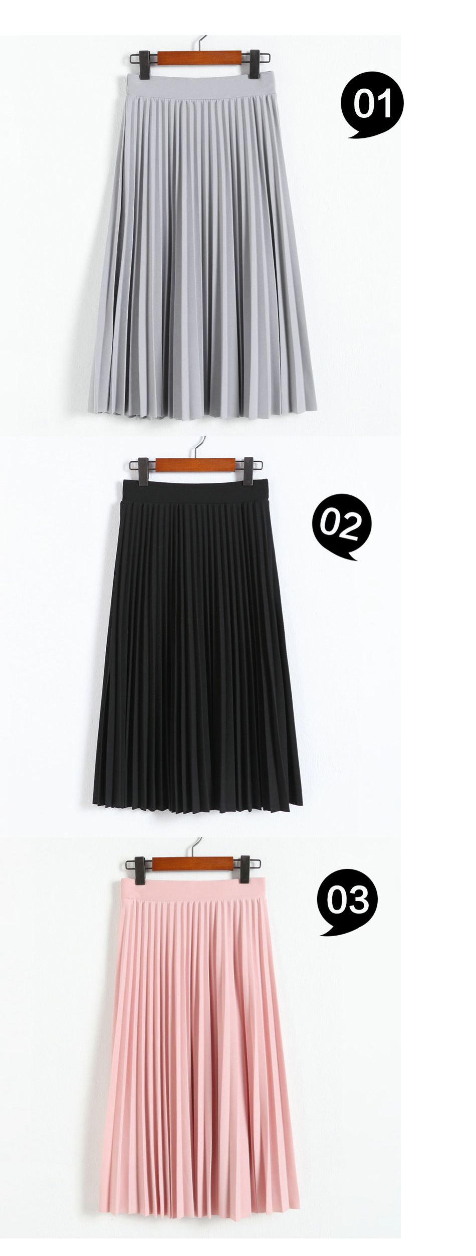 Aonibeier Fashion Women's High Waist Pleated Solid Color Length Elastic Skirt Promotions Lady Black Pink Party Casual Skirts 45