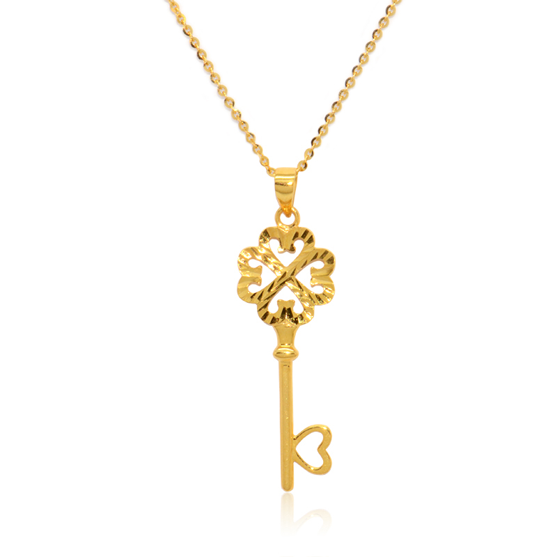 Boraizy 18k Gold Key Charm Pendant Rose Yellow AU750 Pure Solid Fine Jewelry for Women Girl Female Lady GiftBoraizy 18k Gold Key Charm Pendant Rose Yellow AU750 Pure Solid Fine Jewelry for Women Girl Female Lady Gift
