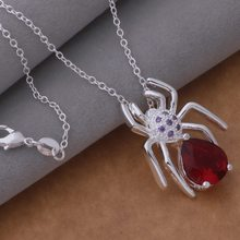 Miễn phí Shipping Promotion Bạc Plated dây chuyền & mặt Fashion Jewelry Spider dát Red Stone/euuanmba bevajwca AN708(China)