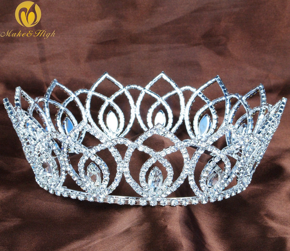 Vintage Full Round Tiaras Clear Austrian Rhinestone Crowns Handmade Diamante Headpiece Beauty Pageant Bridal Wedding Party цена