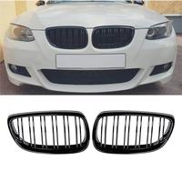 2006 2009 For BMW E92 E93 Pre Facelift 3 Series Coupe M3 Gloss Black Front Kidney Twin Fins Bumper Grill Grille
