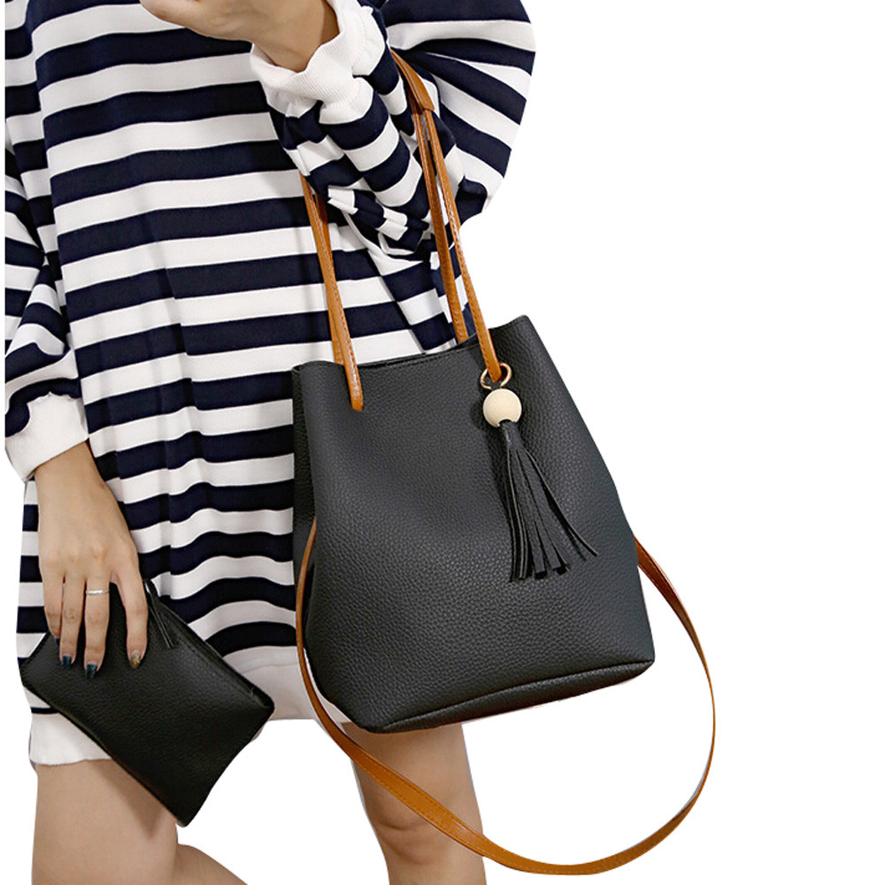 Bag Female  Women Leather Tassels Single Shoulder Bucket Bag+Clutch Bag July5