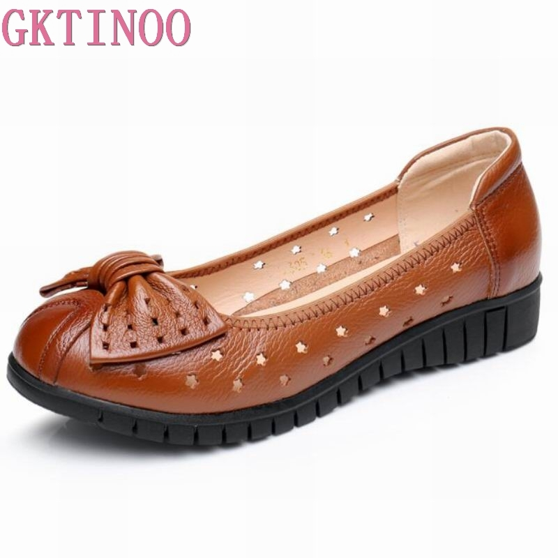 GKTINOO Plus size 34-43 women genuine leather flat shoes woman work shoes newest fashion female casual single shoes women flat 2016 new fashion women flats women genuine leather flat shoes female round toe casual work shoes women shoes