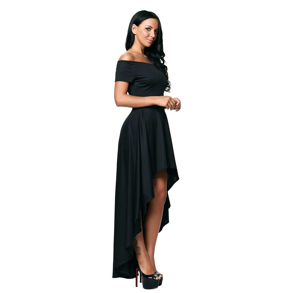 3442c90b03e5 Sexy Women High Low Hem Off Shoulder Party Dress Asymmetrical Hi-low Long  Tail Chic Style Formal Dresses Cocktail Club Wear