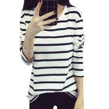 697dbc76 Модная Осенняя рубашка полосатые толстовки для женщин Кофты повседневное  темно синий черный белый полосатый тонкий дна