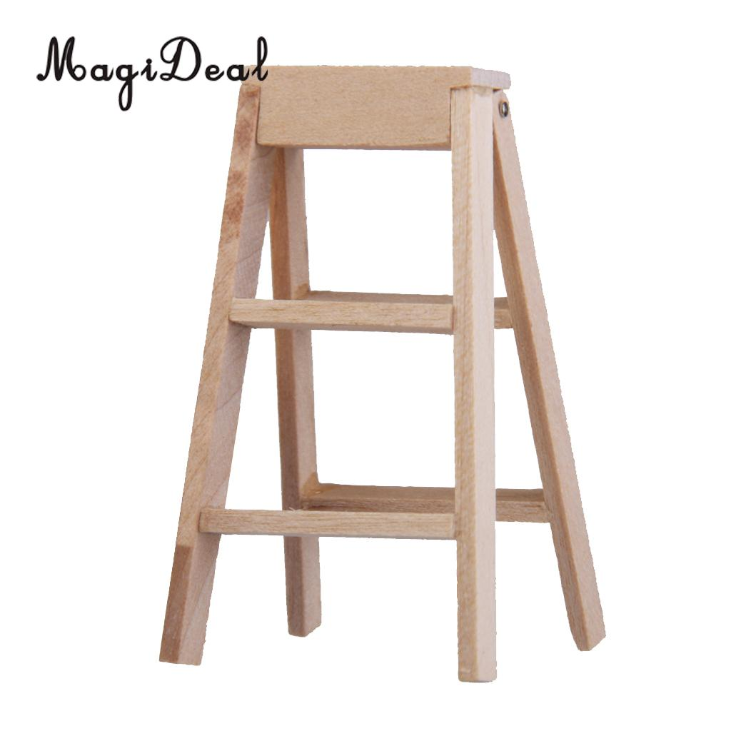 MagiDeal Top Quality 1Pc Mini Scale 1:12 Dollhouse Miniature Furniture Wooden Step Ladder Tool For Kids Prentend Play Game Toys