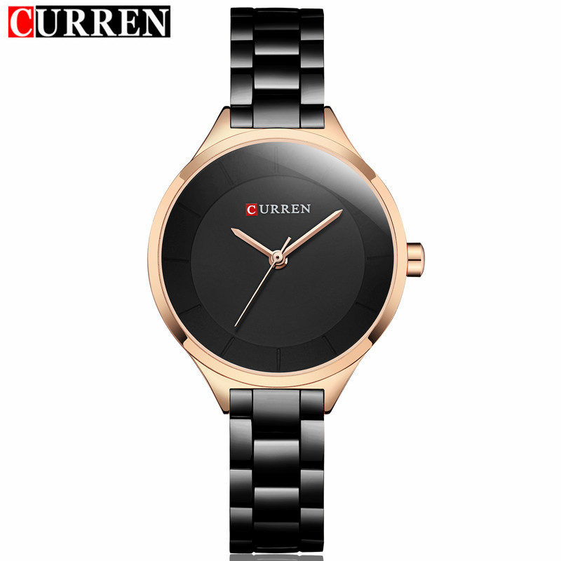 2019 Curren Women Watches Luxury Gold Black Full Steel Dress Jewelry Quartz Watch Ladies Fashion Elegant Clock Relogio Feminino
