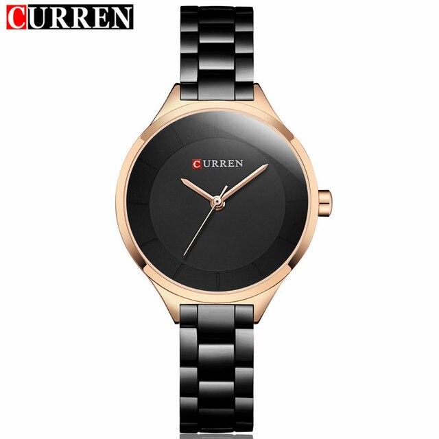 2018 Curren Women Watches Luxury Gold Black Full Steel Dress Jewelry Quartz Watc