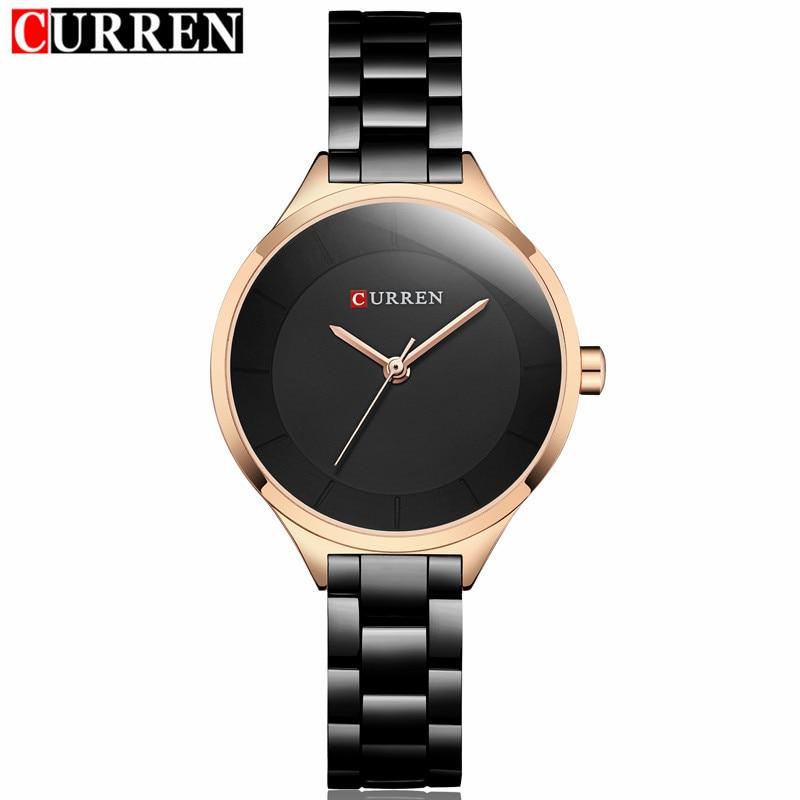 2018 Curren Women Watches Luxury Gold Black Full Steel Dress Jewelry Quartz Watch Ladies Fashion Elegant Clock Relogio Feminino