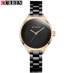 Image 1 - 2019 Curren Women Watches Luxury Gold Black Full Steel Dress Jewelry Quartz Watch Ladies Fashion Elegant Clock Relogio Feminino