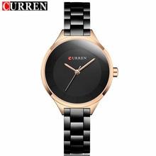2019 Curren femmes montres de luxe or noir en acier complet robe bijoux montre à Quartz dames de mode élégante horloge Relogio Feminino