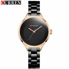 2019 Curren kobiety zegarki luksusowe złoty czarny pełna stalowa sukienka biżuteria zegarek kwarcowy moda damska elegancki zegar Relogio Feminino