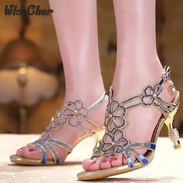 cb23bf68202 2017 new style Sandalias High Heel Mules Sexy Women Slide Sandals  Rhinestone Fashion Ladies Sandals Summer Shoes Sandals