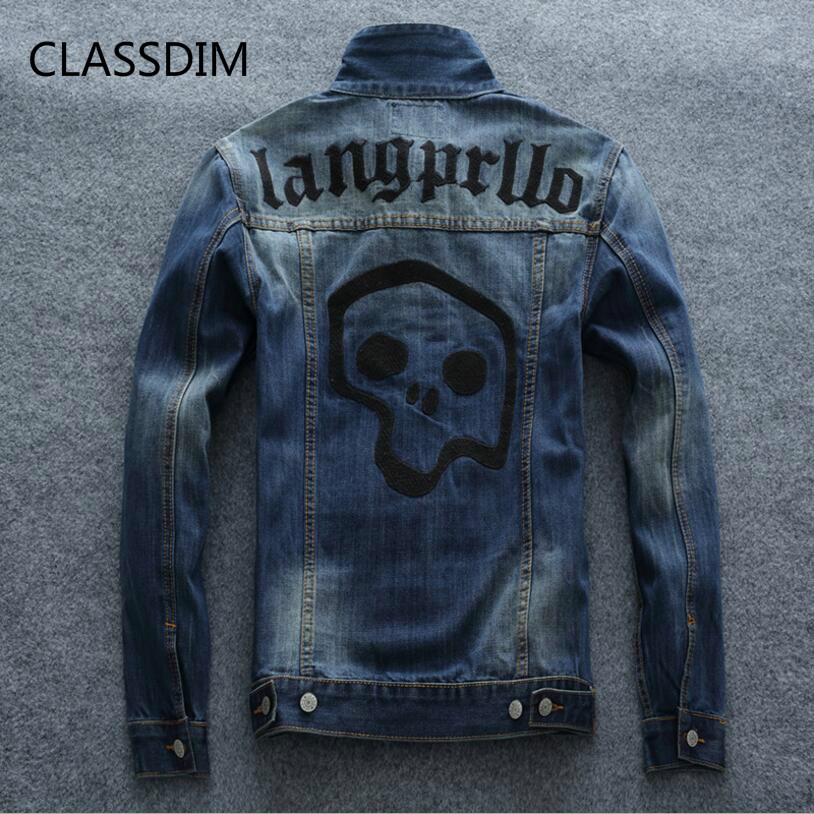 CLASSDIM Men Slim Blue Denim Jackets jean Jackets Good quality Men Cotton Denim Coats Outwear Casual Jean Jackets
