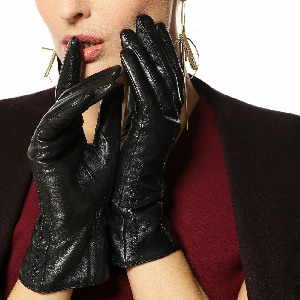 Womens Leather Gloves Sale - Time limited women genuine leather gloves short wrist sheepskin glove female 2017 brand goatskin driving
