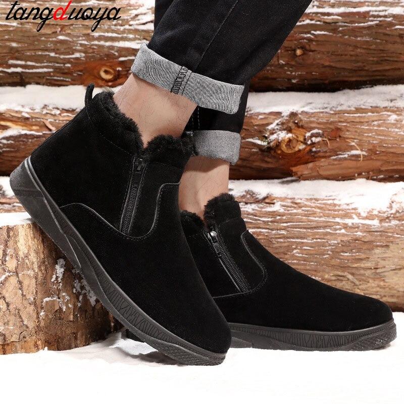 Black Peluche Botas Cheville De Formateurs brown D'hiver Sneakers Martin Mâle En Hombre Hommes gray Chaussures Occasionnels Neige Mannen Bottes adOx586