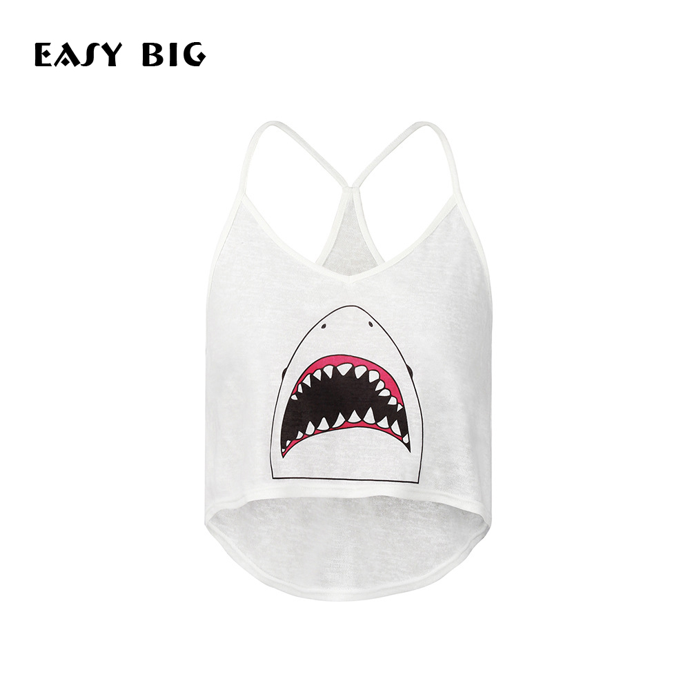 EASY BIG Summer Shark Beach Tank Tops Women Camisole Vest Simple Stretchable Ladies V-Neck Slim Sexy Strappy Camis Tops MC0053