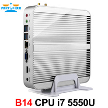 Partaker B14 Fanless Desktop Computer Barebone HTPC Mini PC I7 5550U with Intel Core I7 5550U Windows 10 Free WiFi HDMI Cable