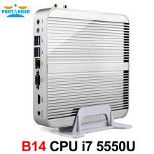 Partaker B14 Fanless Desktop Computer Barebone HTPC Mini PC I7 5550U with Intel Core I7 5550U Windows 10 Free WiFi HDMI Cable(China (Mainland))