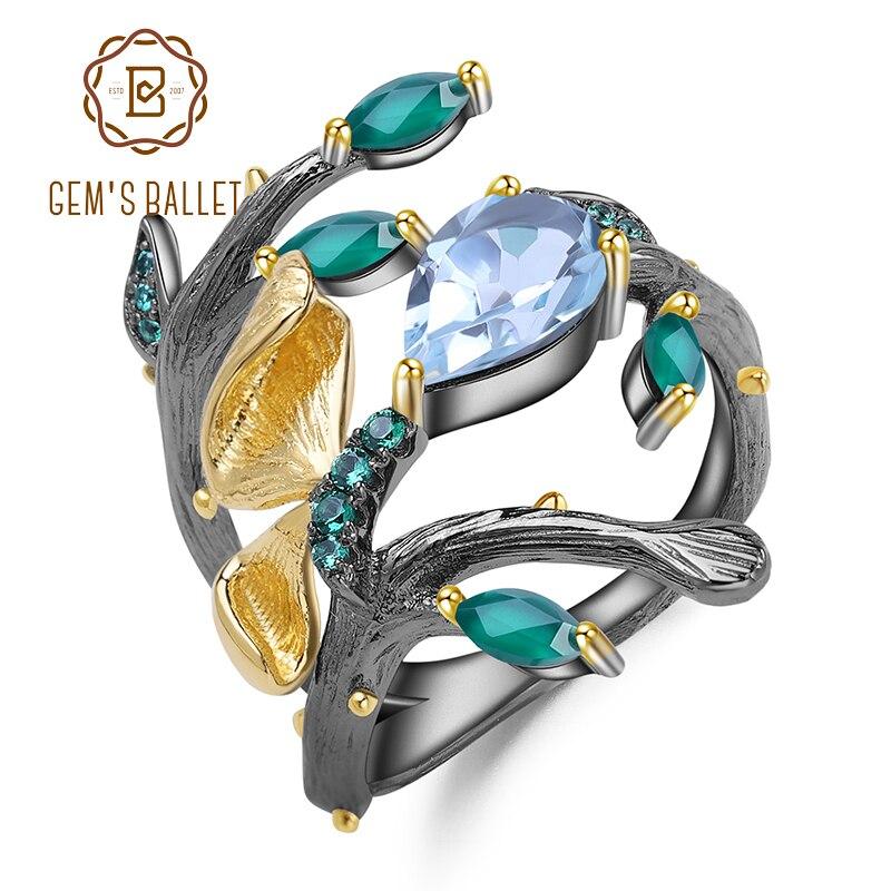 GEM'S BALLET 2.29Ct Natural Sky Blue Topaz Ring 925 Sterling Silver Original Handmade Butterfly on Branch Rings for Women Bijoux