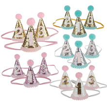 цены Children Hair Decorate First Birthday Party Hats Baby Hair Band Shoot Prop Princess crown Girl Birthday Hat Baby Girl Cake Smash