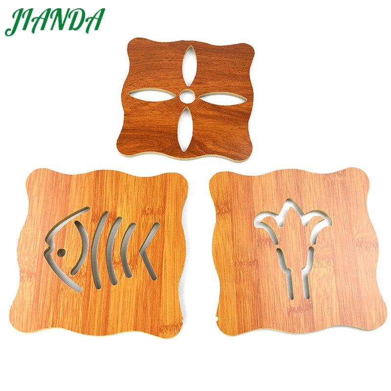 JIANDA 1PC Vintage Cute Hollow Wooden Carved Cup Mug Coasters Non - Slip Pot Pad Bar Tea Coffee Cups Mat Holder 3 Styles