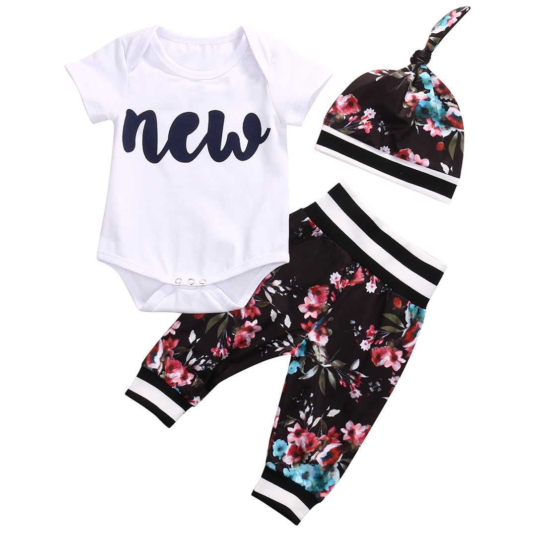3Pcs Newborn Toddler Infant Baby Boy Girl Short Sleeve T-shirt+Floral Pants+Hat Suits Kids Baby Clothes Outfits