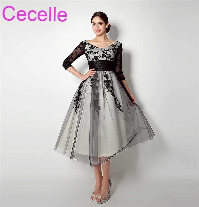 Vintage Tea Length Black Short Wedding Dresses 2019 With 3 4 Sleeves Lace  Tulle Informal acbf864b7947