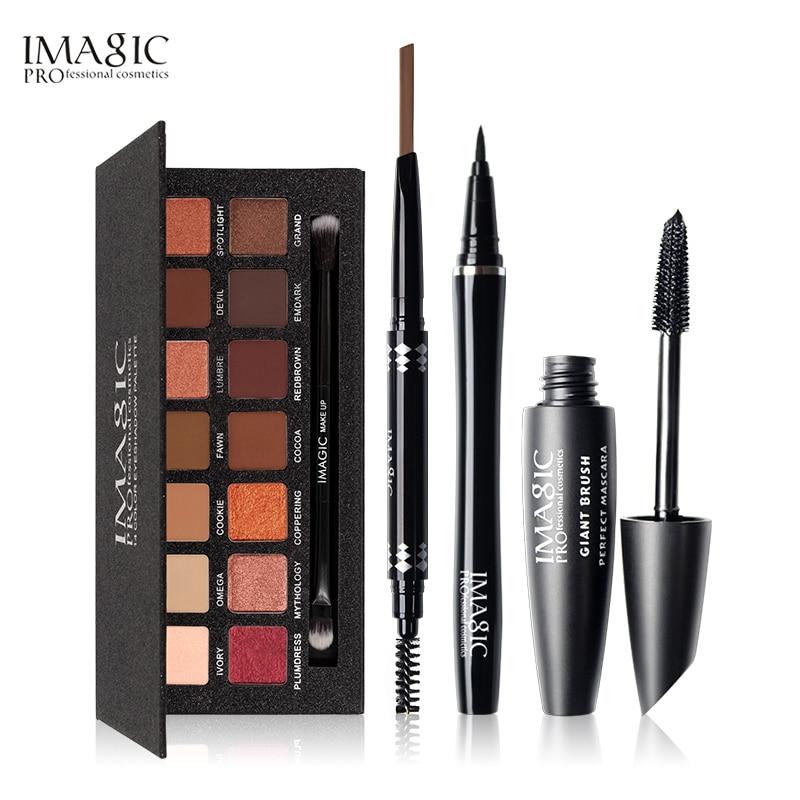 IMAGIC 4 PCS Cosmetici Mascara di Colore Nero Eyeliner Matita 14 di Scintillio di Colori Dell'ombretto con la Penna Del Sopracciglio