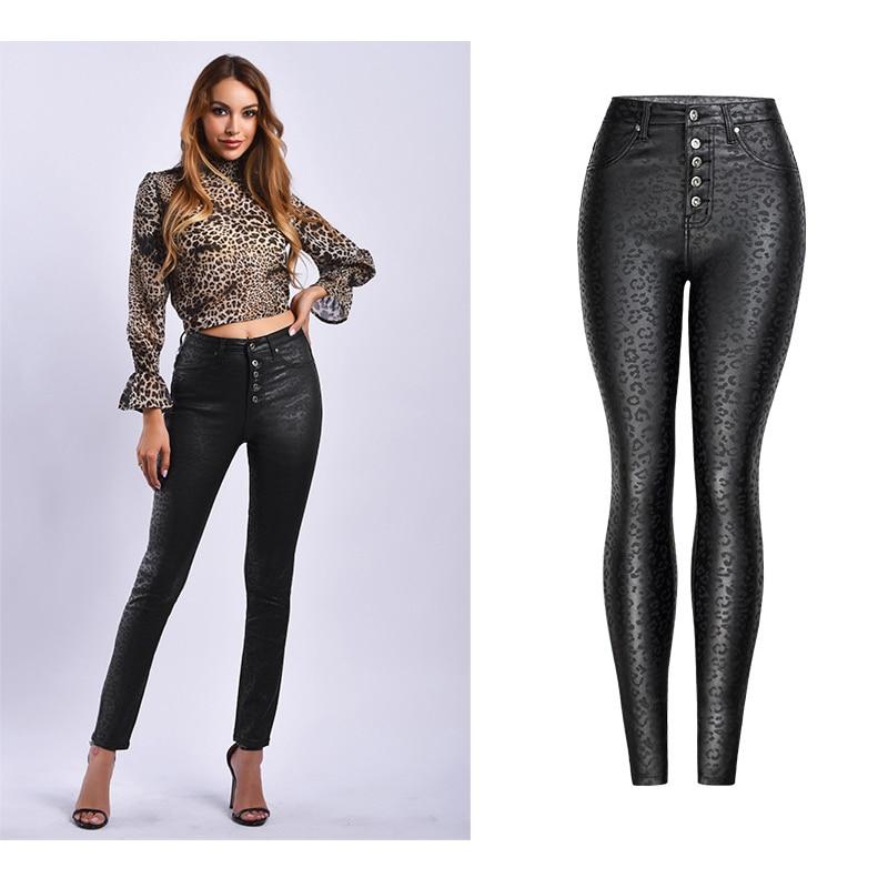 2019 Skinny   Jeans   Woman High Waist Women Black   Jeans   Femme Mujer Leopard Plus Size 3XL ladies   jeans   Women Winter Pencil Pants