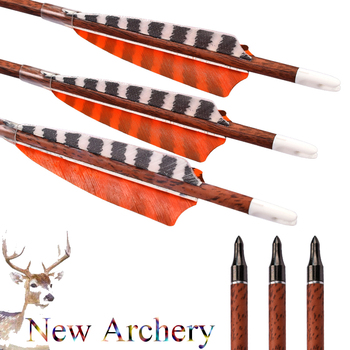 12Pcs Mixed Carbon Arrows Wood Camo Spine 400 Turkey Feather Screw 100 Grain Point Recurve Compound Bows Archery Free Shipping