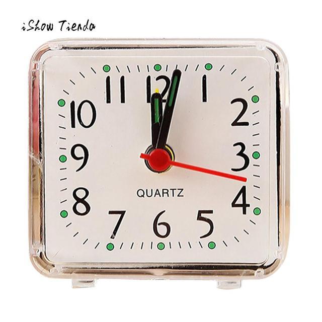2018 New Cute Clock Bedroom Desk Square Small Bed Compact Travel Quartz  Beep Alarm Clock Cute