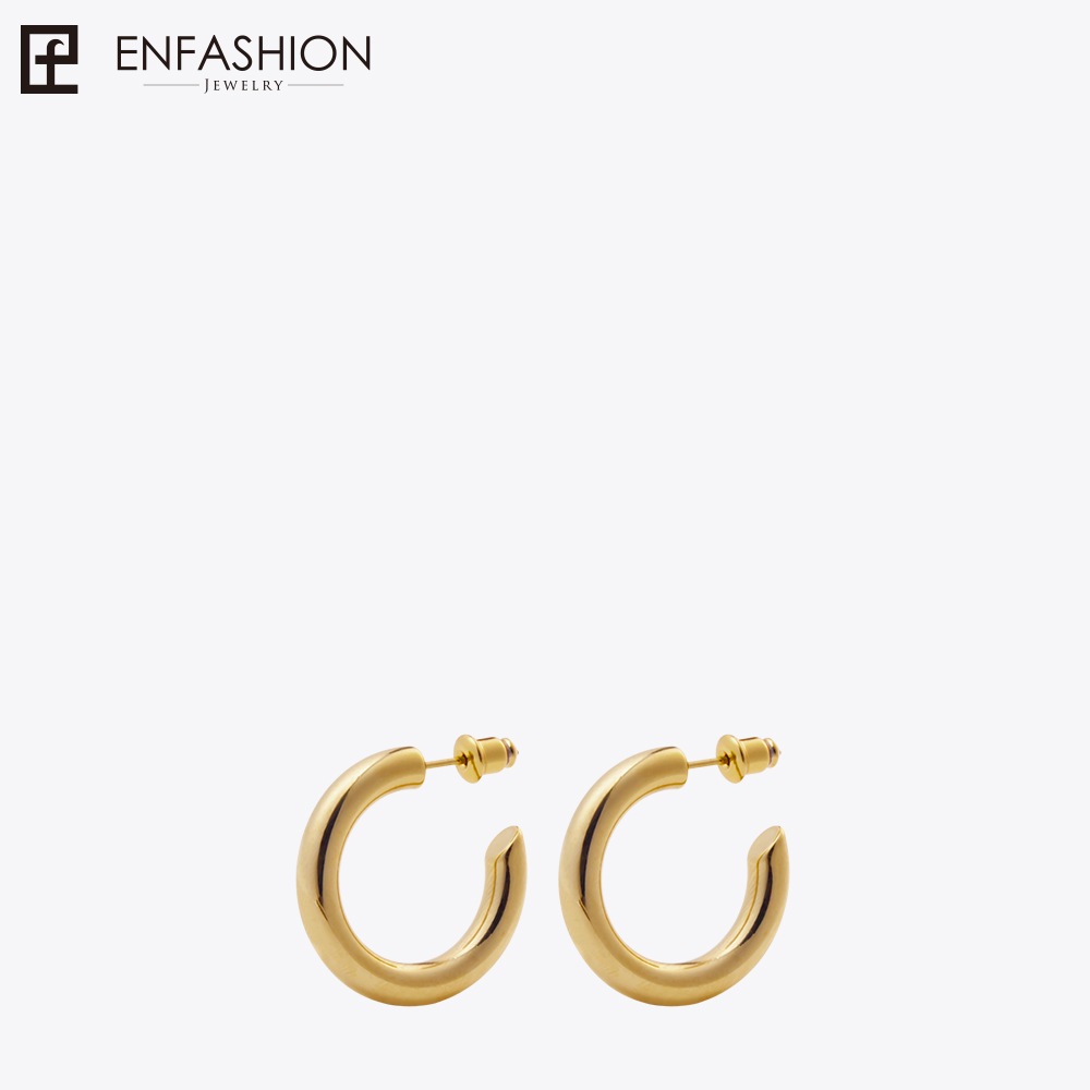 Enfashion Small Hoop Earrings Solid Gold color Eternity Earings Stainless Steel Circle Earrings For Women Jewelry EC171023 pair of simple asymmeteric circle solid color earrings for women