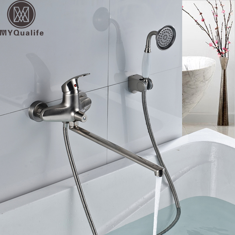 Best Quality Long Outlet Spout Bathtub Faucet Wall Mounted Longer Nose Bath Tub Mixer with Handshower and BracketBest Quality Long Outlet Spout Bathtub Faucet Wall Mounted Longer Nose Bath Tub Mixer with Handshower and Bracket