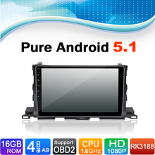 Pure Android 5.1.1 System Car Media Player Auto Radio Autoradio Car DVD Player Stereo for Toyota Highlander 2015