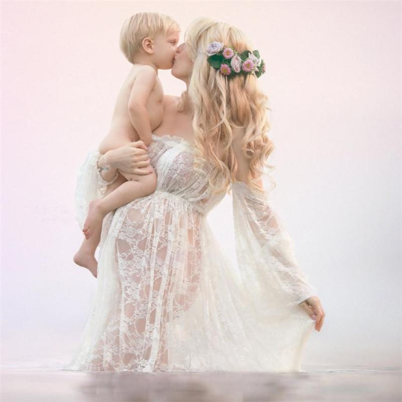 wholesale drop shipping Women Pregnants Sexy Photography Props Off Shoulders Lace Nursing Long Dress Fashion casual S3JUN11