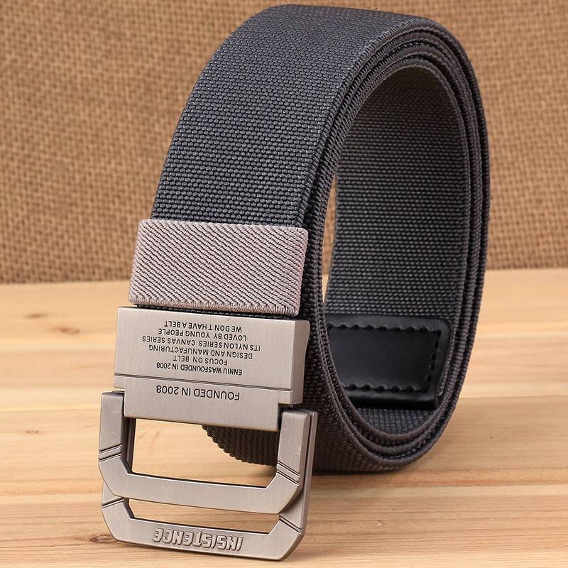 Mens Canvas Belt Sports Military Tactical Double D-Ring Buckle Waistband Webbing
