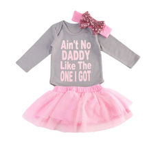 Toddler Baby Girls Tops Letters Long Sleeve Gray Colors Bodysuits Tutu Pink Colors Skirts Headband Set Outfits Clothes