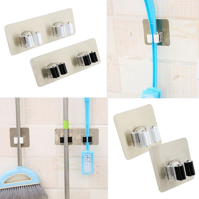 Gentil Wall Mounted Mop And Broom Holder Bathroom Shelves Suction Cup Storage  Hooks Garden Tool Organizer Reusable