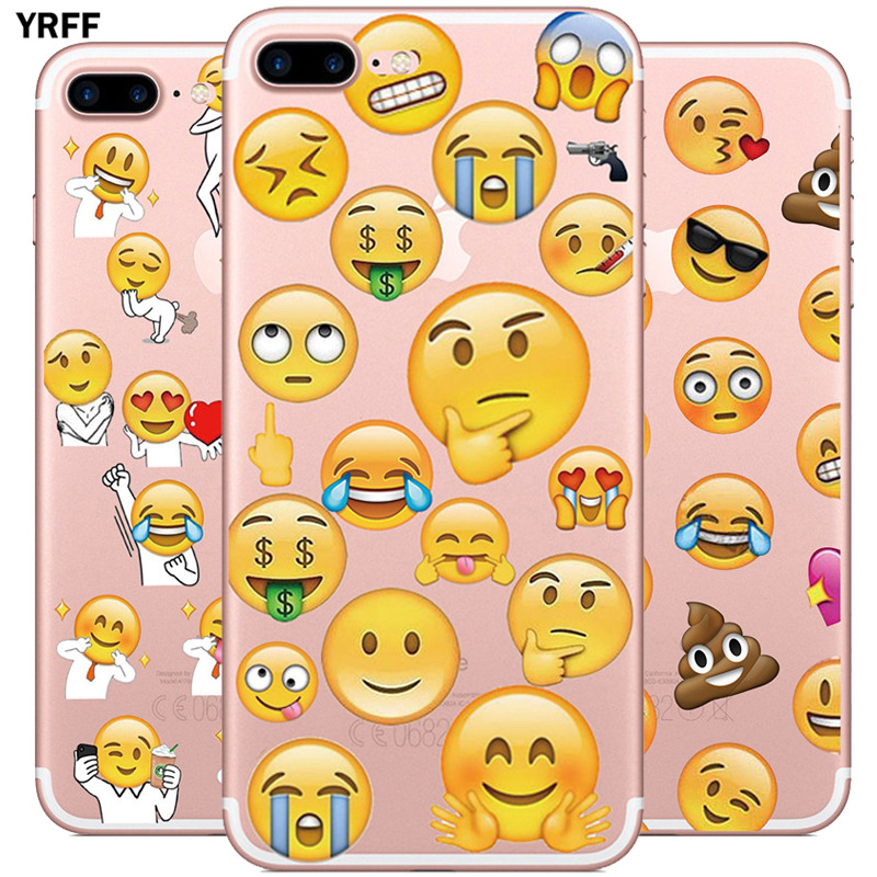 YRFF Transparent Soft TPU Case For Apple iphone X Funny Face Expression Phone Cover For iphone 7 8 Plus 6 6s plus Cases capa