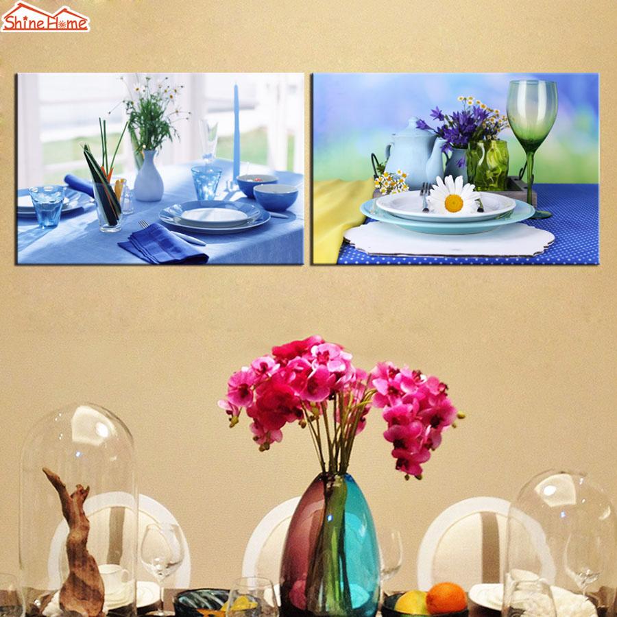 ShineHome 2pcs Wall Art Canvas Prints Painting Cutlery Modular Blue ...