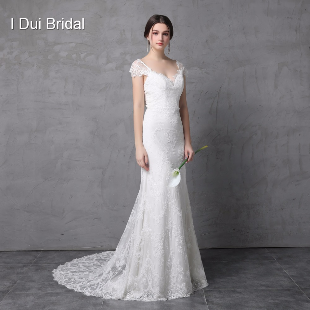 Sheath Lace Wedding Dress Real Photo Cap Sleeve Bow Tie V Back High Quality