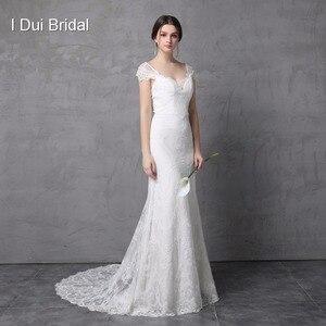 Image 1 - Sheath Lace Wedding Dress Real Photo Cap Sleeve Bow Tie V Back High Quality